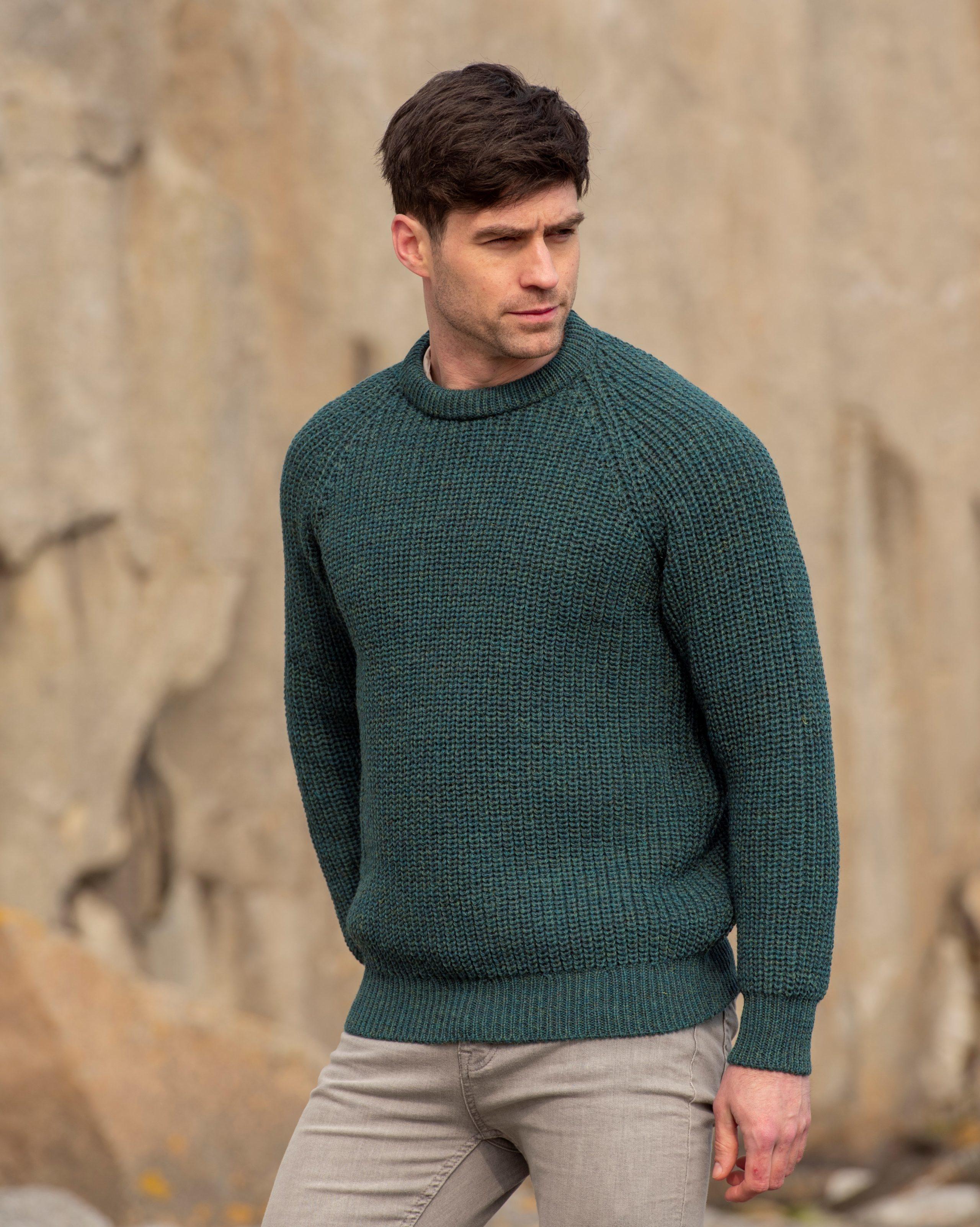 Made in Ireland by Aran Crafts Fishermans Crew Neck Wool Rib Aran Sweater c761