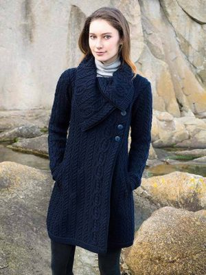CHUNKY COLLAR COAT WITH BUTTONS X4416