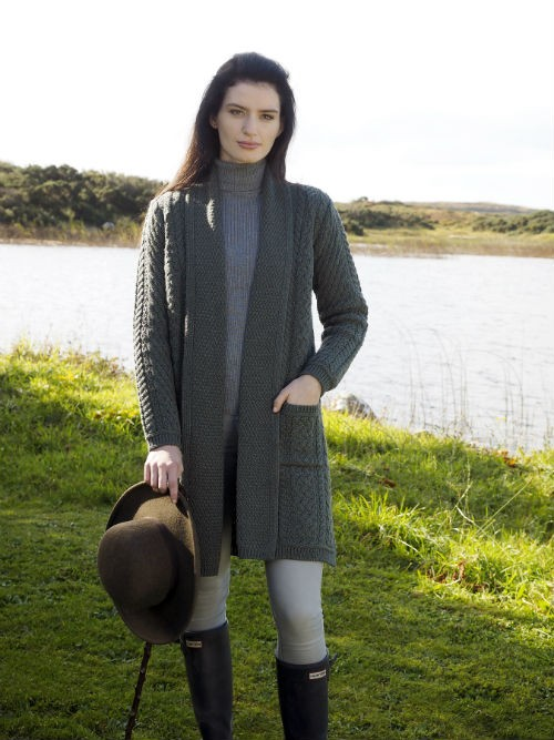 Arancrafts long cardigan with pockets