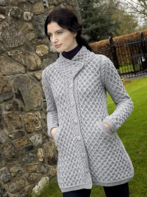 BUTTON COAT WITH CROSSOVER NECK X4831