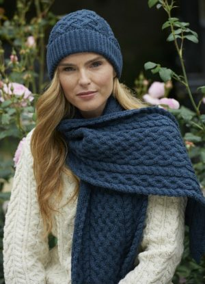 Aran Knitted Woollen Hat and Scarf