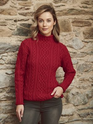 FUNNEL NECK CABLE KNIT SWEATER C4863