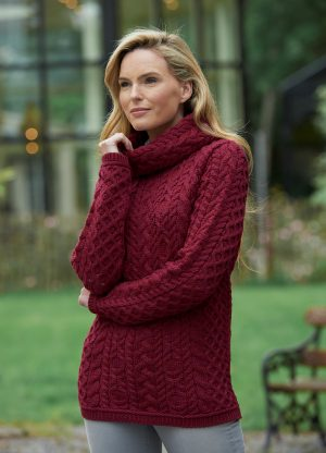 CABLE KNIT COWL NECK SWEATER CW4885