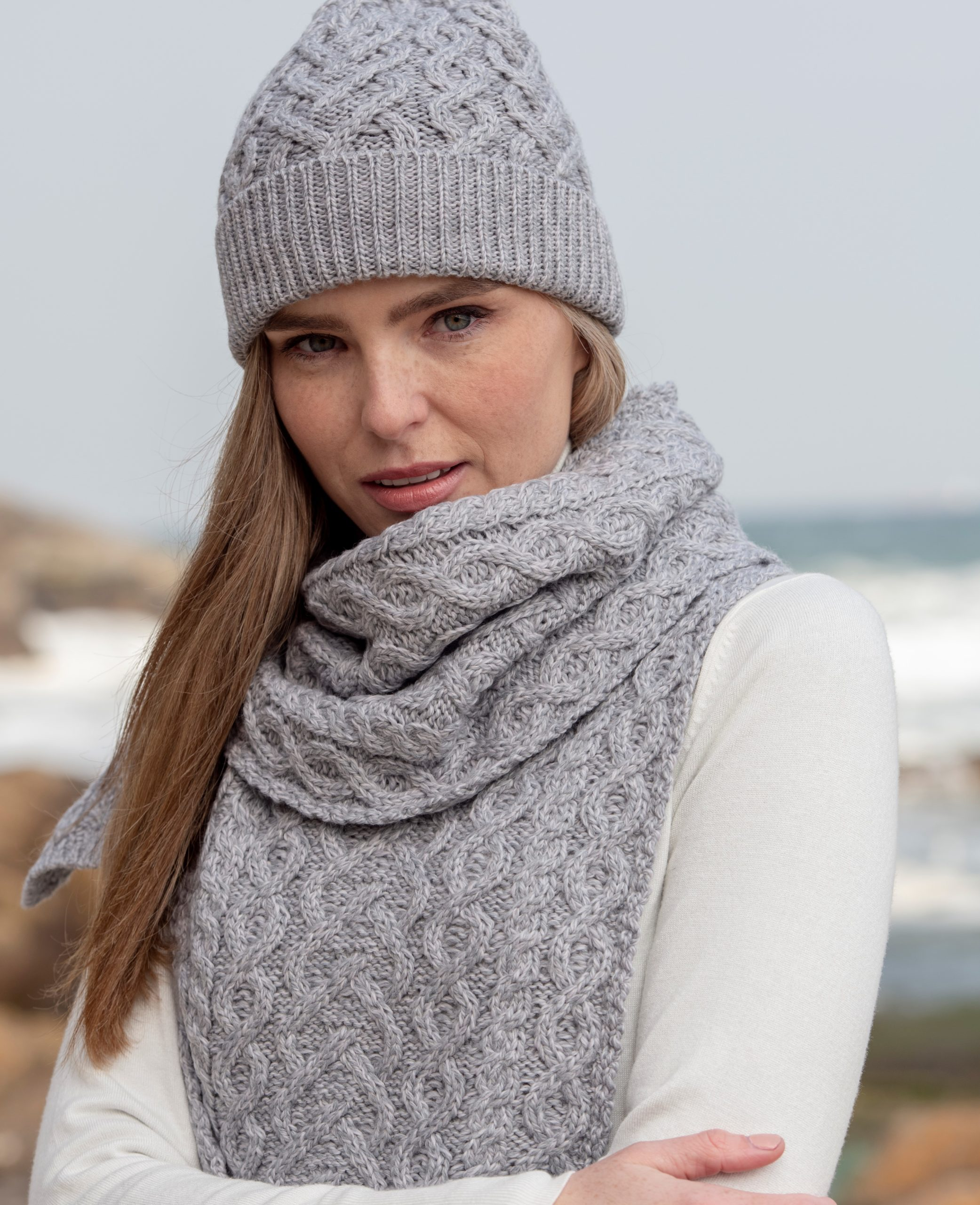 SuperSoft Merino Wool Cable Knit Irish Scarf
